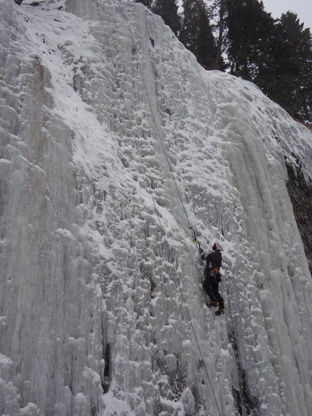 Climbing at GENESIS I Area -  Hyalite Canyon - Bozeman Ice Fest -Montana - Dec 2012.