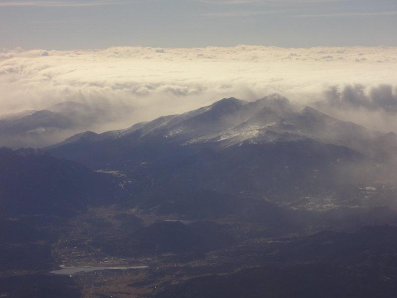 Longs Peak and Estes Park from the plane home. Bozeman Ice Fest -Montana - Dec 2012.
