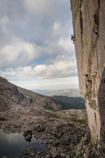 Nick Duttle sending this brilliant alpine route.<br> <br> Photo: Andy Mann.