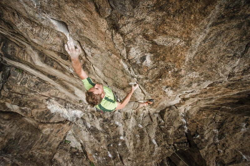 Rock Climbing Photo: Photo: Andy Mann. Tommy taking some training laps ...