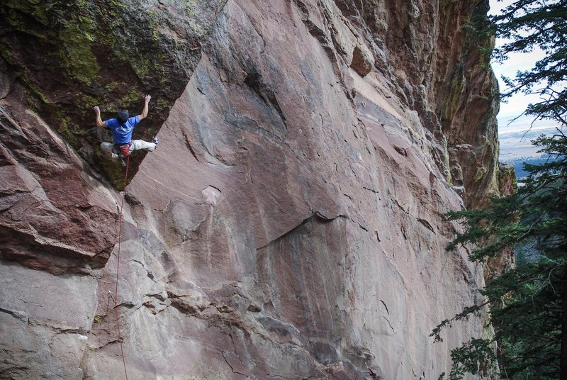 Photo: Andy Mann.<br> Jonathan Siegrist cutting his chops in Flatirons very early on....