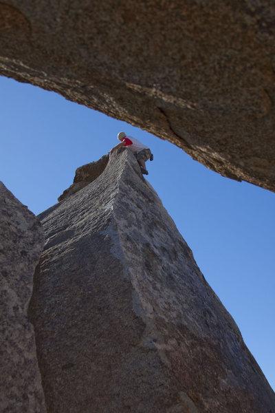 Rock Climbing Photo: Ciotti on the high ball (v1) Windy Arete