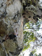 Rock Climbing Photo: Leading into the large roof half way up...