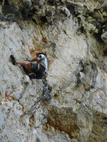 Rock Climbing Photo: Mark Miner on the crux of Loco
