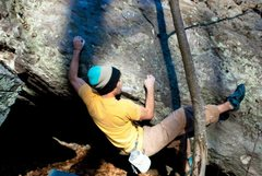 """Rock Climbing Photo: Parlier a couple moves in on """"Bewildered&quot..."""