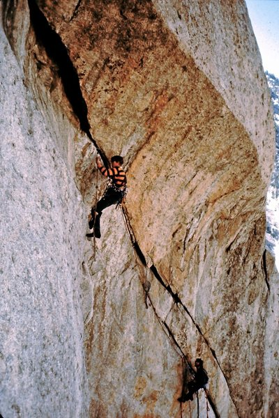 Jim Langdon leading and Mark Ward belaying on the first ascent of Fallen Arches.  Probably '70<br> <br> A couple of no name Provo boys - that also pulled off an early ascent of the Dihedral Wall on El Cap in 3.5 days.