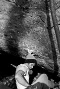 Rock Climbing Photo: Parlier on the FA of Bewildered on the Dizzy Bould...