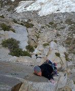 Rock Climbing Photo: Brad working hard on Workingman's Arete, pitch 1.