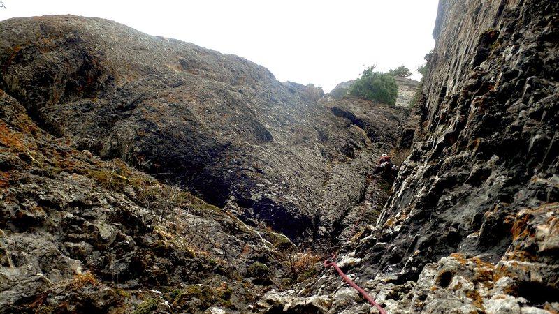 Rock Climbing Photo: Jim Turner sending pitch one.