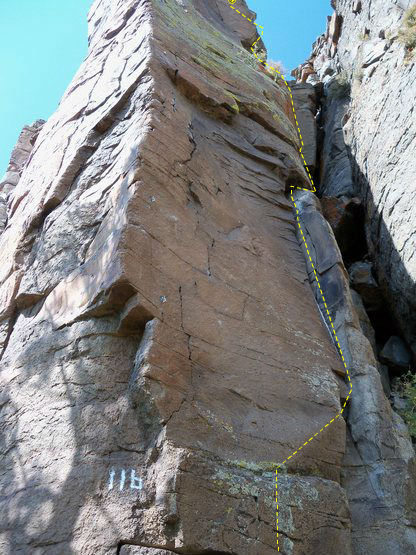 """The top 2/3s of the route is out of sight but the ending is a finger crack on super rock that leads back to the last moves of """"Missing Link"""""""