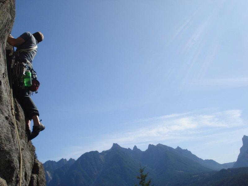 Rock Climbing Photo: Pat taking off on pw of Heaven's Gate