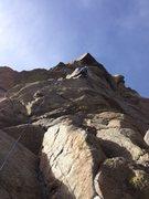 Rock Climbing Photo: Glen at the crux (of p1).
