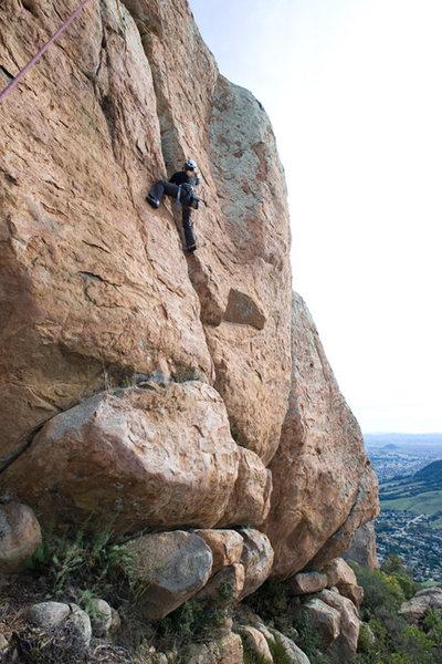 Marisa Fienup climbs Flakes to Fresno (5.8) at Bishop's Peak.
