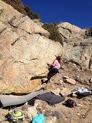 Rock Climbing Photo: Bobbi sticking the crux.