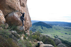Rock Climbing Photo: Marisa Fienup starts up Dig a Pony (5.10d) on the ...