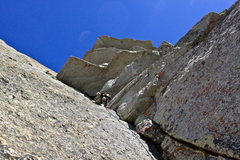 Rock Climbing Photo: Randy below the roof traverse on P4