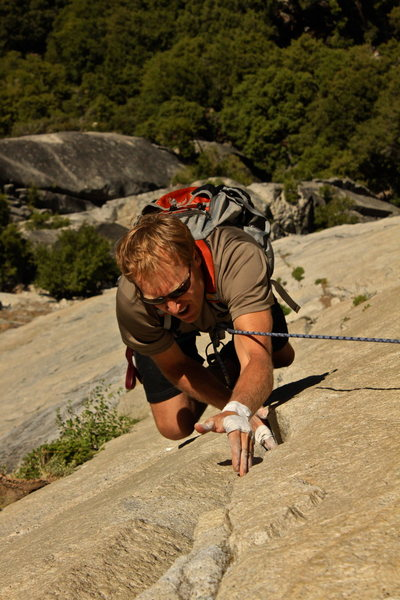 Bill Griffith jamming through the crux on the final pitch