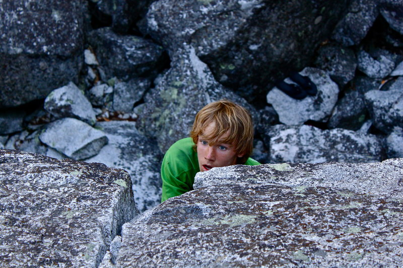 Free Soloing... if you really count this as something more than a boulder problem.
