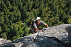 Rock Climbing Photo: Randy with awesome exposure on one of the final pi...