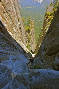 Rock Climbing Photo: The first rappel on a very long descent