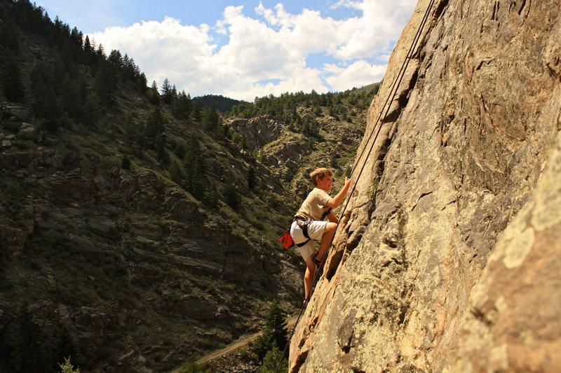 Rock Climbing Photo: Henry Frick cruising through the crux.