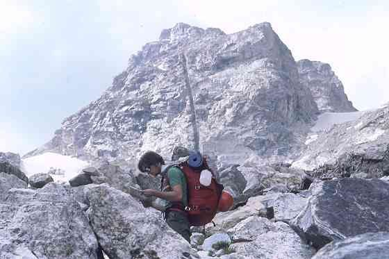 In the col below the Grand Teton, with Fred Green, ca. 1986.