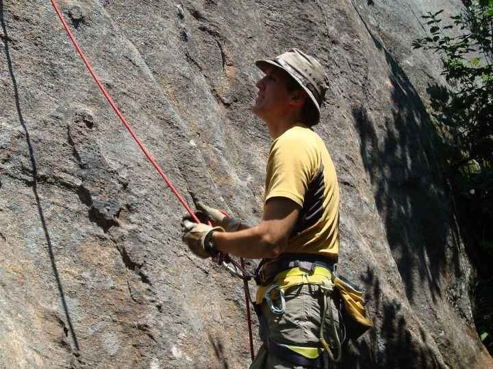 Rock Climbing Photo: Jim belaying during a Crane Day.