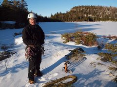 Rock Climbing Photo: Bruce Monroe at the Pond, after climbing the entir...