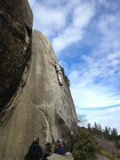 Rock Climbing Photo: Adam feels around for something to use on Adhesion...