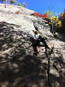 Rock Climbing Photo: Half moon Crack. Sam Headed up the slab from the c...
