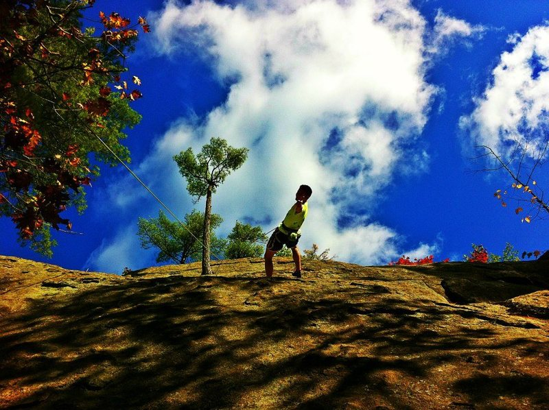 Rock Climbing Photo: Pumped on the beautiful day and excellent Rock! Ja...