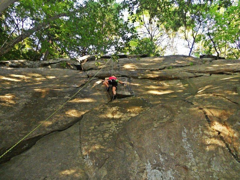 Sam climbing the cruxy part of Pete's Tree.