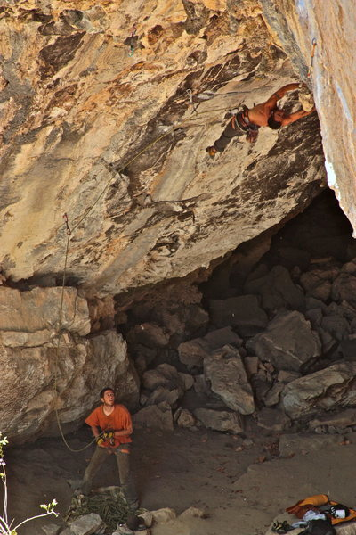 A photographer traveling with pro climber Dani Andrada managed to get this shot of me hucking the dyno on La Violencia 8a/Tecolote Cave