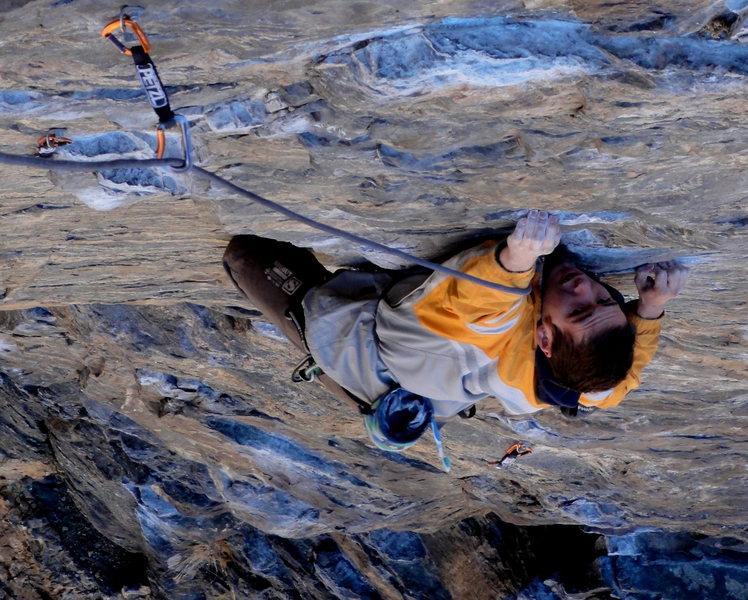 Rock Climbing Photo: Andrew Mathews crimping his way up the ultra-class...