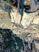 Rock Climbing Photo: Top of pitch 4, real cool belay ledge for pitch fi...