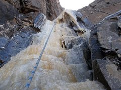 Rock Climbing Photo: Finish of the steep ice on the second pitch.