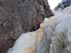 Rock Climbing Photo: Ryan Barber at belay on top of second pitch.