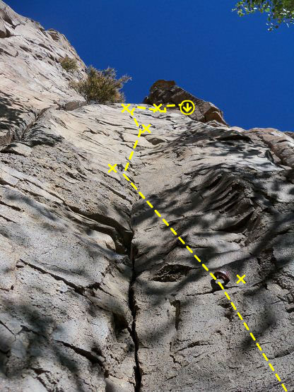Up through four bolts then right on a traverse to chains
