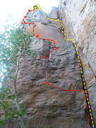 Rock Climbing Photo: Yellow is Diverging Evolution Red is Knuckle Dragg...