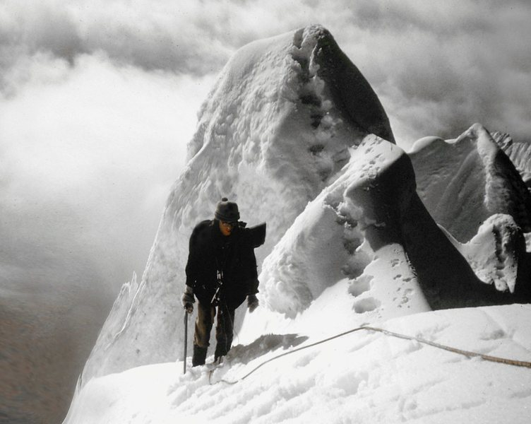 Nearing the summit - Wishbone Arete is on the left and the North Face on the right of the right