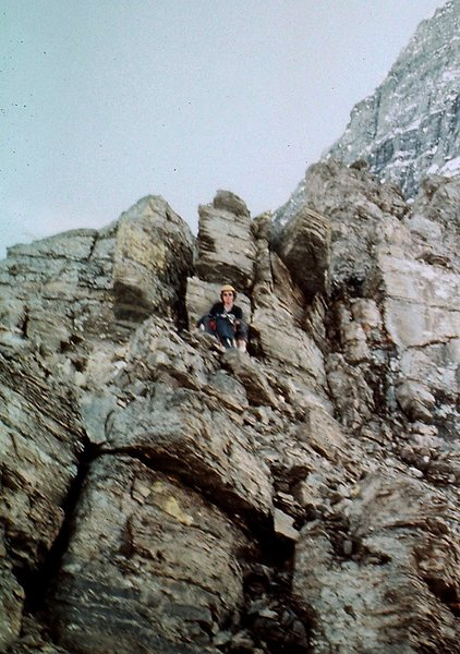 The initial climbing was easy (low 5th class) but very loose.  Note the Emperor Face on the left.