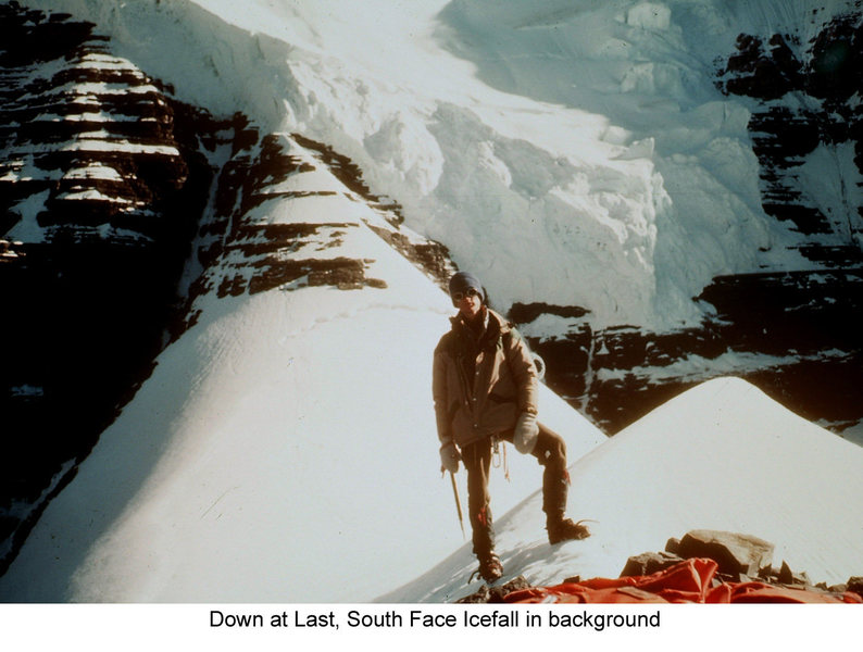 Looking back from Little Robson after rapping the ice cliff