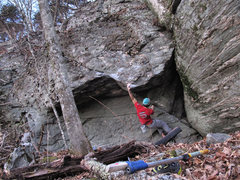 """Rock Climbing Photo: Aaron James Parlier on the FA of """"Doom's Day&..."""