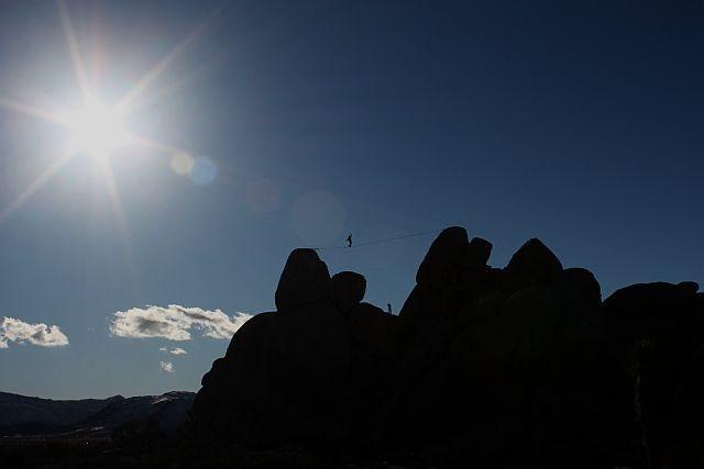 Rock Climbing Photo: Highline at the Hall of Horrors, Joshua Tree NP