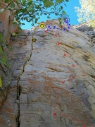Rock Climbing Photo: Red is Oranguterror Yellow is Coco's Lichen It Blu...