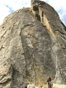 Rock Climbing Photo: Shot looking up the entire route. Chris getting re...
