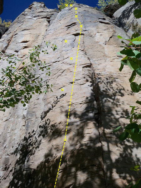 The bolt &quot;off&quot; the line was nessisitated by rock quality...clip with a shoulder length runner and launch for the next hold<br>