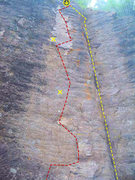 Rock Climbing Photo: Yellow is easy Red is 10+