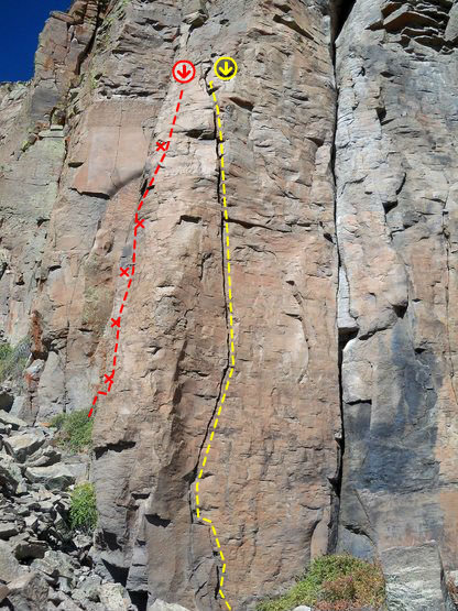 Yellow is Climbers In The Mist<br> Red is Maguilla Gorilla