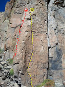 Rock Climbing Photo: Yellow is Climbers In The Mist Red is Maguilla Gor...
